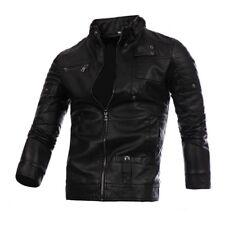 HOT Men's PU Leather Jacket Coat Black Fashion Slim Fit Biker Motorcycle Tops