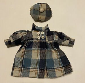 "Vintage Blue Plaid Doll Dress Coat And Tam Set Fits 13"" Doll"