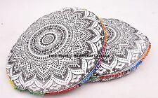 Black & White Ombre Mandala Floor Pillow Indian Ottoman Pouf Cushion Cover PAIR