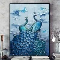 5D Peacock Diamond Painting Full Drill Picture Cross Stitch Kit Embroidery Decor