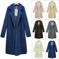 Fashion Women Shaggy Long Jacket Coat Winter Fur Overcoat Parka Cardigan Peacoat