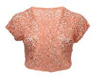 Ladies New Coral Sequin Lace Bolero Shrug Top Size 14 16 18 20 22 24 26 *LICK*