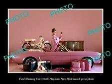 OLD POSTCARD SIZE PHOTO OF 1964 FORD MUSTAGE PLAYMATE PINK LAUNCH PRESS PHOTO