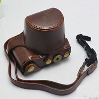 Camera leather case bag strap for Sony alpha a6000 A6300 With 16-50mm Lens offee
