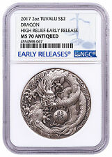 2017 Tuvalu Dragon Ult High Relief 2 oz Silver Antiqued $2 NGC MS70 ER SKU47304