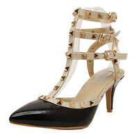 7CM Classic Women Studded Rivet High Heels Pointed Toe Shoes Single Sandals