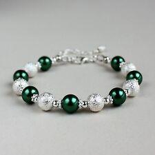 Silver stardust dark forest green pearl beaded bracelet wedding bridesmaid gift