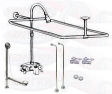 Chrome Clawfoot Tub Faucet Add-A-Shower Kit W/Curtain Rod, Drain & Supplies