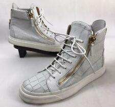 GIUSEPPE ZANOTTI  White Croc-Embossed Londo High-Top Leather Sneakers Size 39