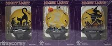 Halloween 3 pack Night Light Black Cat on Fence, Skeleton & Witch Hauntd House