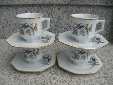 4 TASSES CAFE SUR SOUCOUPES PORCELAINE LIMOGES Décor OISEAUX DU PARADIS 19,8 cm