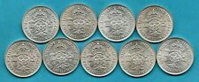 More details for 9 king george vi, florin silver coins 1937 - 1946 (no 1938) high grade. job lot.