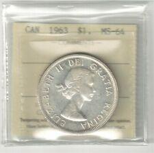 1963 CANADA SILVER DOLLAR :  ICCS MS-64