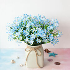4 Pcs Artificial Fake Flower Blue Small Orchid Home Decoration Outdoor Floral