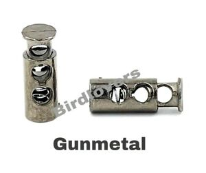 QUALITY GUN METAL BARREL TOGGLE SPRING STOP DOUBLE HOLE CORD LOCKS STOPPER END