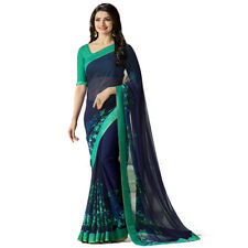 Blue Color Bollywood New Indian Designer Georgette Printed Saree With Blouse