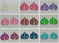 20 Flatback Resin Glitter Heart Leaves Rhinestone Cabochon Craft Pick Your Color