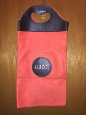 VINTAGE 1970s Gucci ORANGE Felt Black Vinyl Shopper Tote Bag SHOE BAG  PURSE BAG