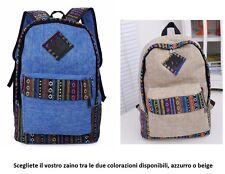 Zaino unisex nero tela di canapa colorato 40 x 30 x 10 azzurro o beige a scelta