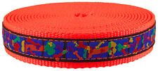 1 Inch Multi-Colored Bones Ribbon on Neon Orange Nylon Webbing Closeout,50 Yards