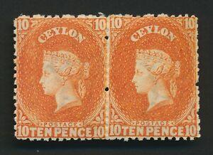 CEYLON STAMPS 1867 QV 10d CHALON HEAD PAIR, SG #70c, BEAUTIFUL, MOG VF
