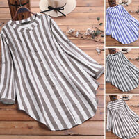 UK Womens Long Sleeve Stripe Shirt Casual Loose Button Dowm Top Blouse Plus Size