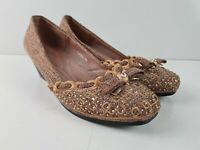 Genny Designer Fabric Beaded Bow Slipper Low Wedge Heel Women's Size EUR39 ~ 8.5