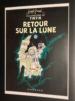 Les aventures de Tintin poster pour pastiche. Retour sur la Lune . Harry Edwood