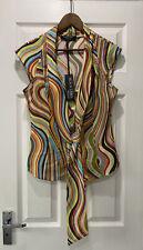 BNWT Paul Smith Black Label Swirl Pattern Tie Neck Sleeveless Blouse Size46 UK14