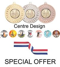 SPECIAL OFFER 10 x Dancing 50 mm metal medals & ribbon gold silver and bronze