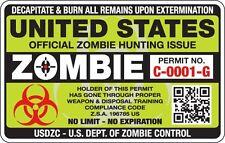 """Zombie - US Zombie Hunting Permit - Sticker - 3.5"""" x 5.5"""""""