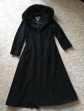 Marvin Richards Full Lenght Dress Wool Coat w/Fox Fur Trim Hood Black (Size 8)