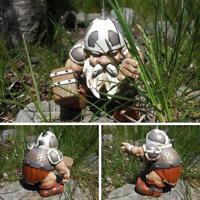 Viking Victor Norse Dwarf Gnome Statue Resin Craft Yard Figurines Garden Decor