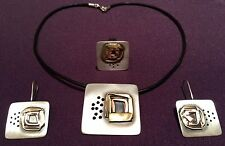 Art jewellery necklace, earrings and ring set 925 silver hand made (Wl118)