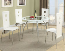 NEW 5PC TULSA MODERN ROUND TINTED WHITE GLASS CHROME METAL DINING TABLE SET