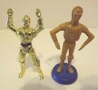 Star Wars C3P0 Action Figure Vintage, Lot of 2, Kenner 1995, Cake Topper Bobble