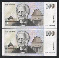 Australia R-613L (1992) Fraser/Cole - $100. Last Prefix ZLD.. CONSEC Pair - UNC