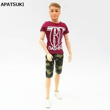 Fashion Casual Wear For Ken Doll Red T-Shirt + Camouflage Shorts For Ken Boy 1/6