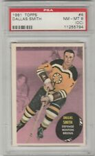1961-62 TOPPS #4 DALLAS SMITH ROOKIE CARD, BRUINS, GRADED PSA NM-MT 8 O/C
