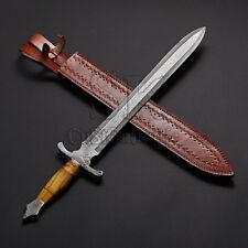 "DAMASCUS CUSTOM HANDMADE BEAUTIFUL VIKING SWORD KNIFE 29"" OLIVE WOOD HANDLE"