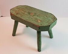 Vtg Antique Primitive Rustic Farm House Painted Wood Footstool Bench Country Old