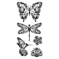 INKADINKADO MINDSCAPES Butterfly Dragonfly Humming Bird Flowers Clear Stamp Set