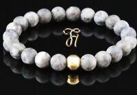 Larvikit 925er sterling Silber vergoldet Armband Bracelet Perlenarmband grau 8mm