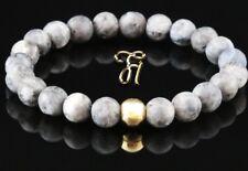 Larvikite 925 Argent Fin Plaqué or Bracelet de Perles Gris 8mm