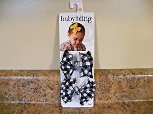 Baby Bling Bow Black and White Clips New in package