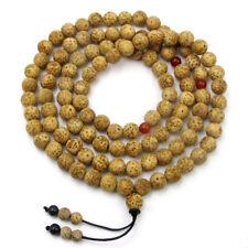 9mm Tibet Buddhist Star Moon Bodhi Seed 108 Prayer Beads Mala Necklace
