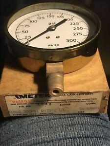 "AMETEK P1590 300 PSI WATER PRESSURE GAUGE DIAL 37590 3-1/2"" 1/4"" ANPT"