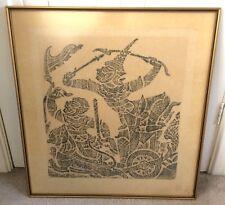 Chinois Traditionnel Folk Art Wood Block Print Masque guerrier Pixiu Chariot encadrée
