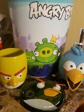 NEW ANGRY BIRDS SOAP DISPENSER SOAP DISH TUMBLER CUP & TRASH CAN