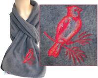 Red Northern Cardinal Bird Monogram Scarf Gray Warm Fleece Winter Birder Gift
